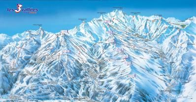 3 Vallées - Plan des pistes Trois Vallées